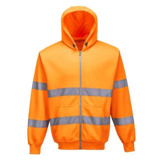 Hi-Vis Zip Front Hoodie (Orange)