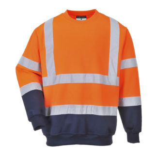 Two Tone Hi-Vis Sweatshirt (Orange/Navy)