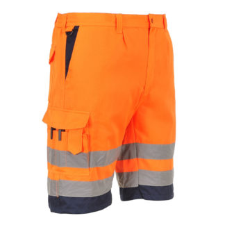 Hi-Vis Poly-cotton Shorts (Orange/Navy)