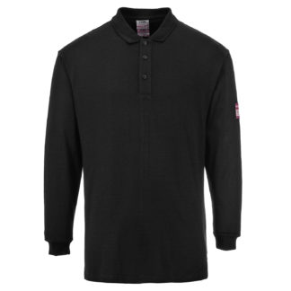 Flame Resistant Anti-Static Long Sleeve Polo Shirt (Black)