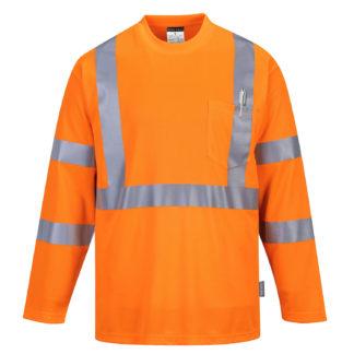 Hi-Vis Long Sleeve Pocket T-Shirt (Orange)