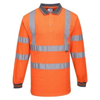 Hi-Vis Long Sleeved Polo (Orange)