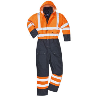 Hi-Vis Contrast Coverall - Lined (Orange/Navy)