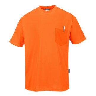 Day-Vis Pocket Short Sleeve T-Shirt (Orange)