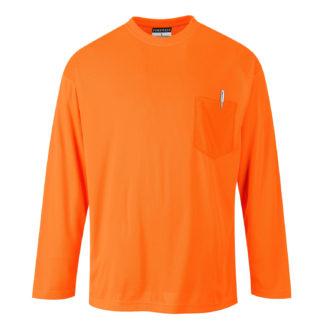 Day-Vis Pocket Long Sleeve T-Shirt (Orange)