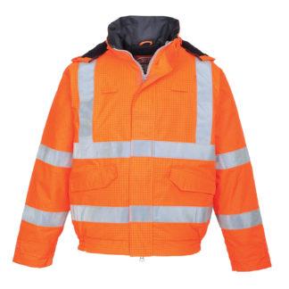 Bizflame Rain Hi-Vis Antistatic FR Bomber Jacket (Orange)