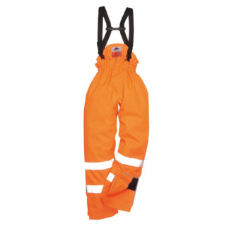 Bizflame Rain Lined- Hi-Vis Antistatic FR Trousers (Orange)