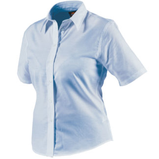 Dickies Womens Oxford Weave Short Sleeved Shirt (Blue)
