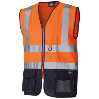 Dickies Two Tone Hi-Vis Waistcoat (Orange)