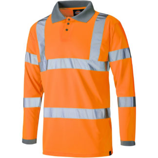 Dickies Hi Visibility Long Sleeve Polo Shirt (Orange)