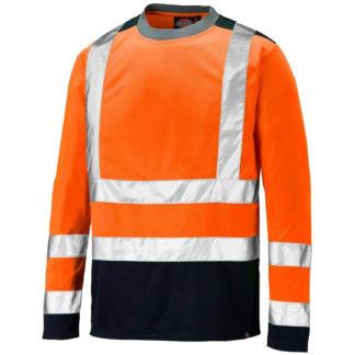 Dickies Long Sleeve Two Tone Hi-Vis T-Shirt (Orange)